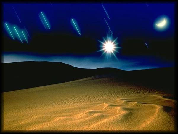 sandy desert landscape at night with shooting stars