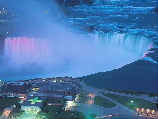 evening arial view of Niagra Falls from the Canadian side